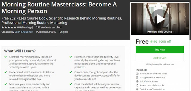 [100% Off] Morning Routine Masterclass: Become A Morning Person| Worth 110$