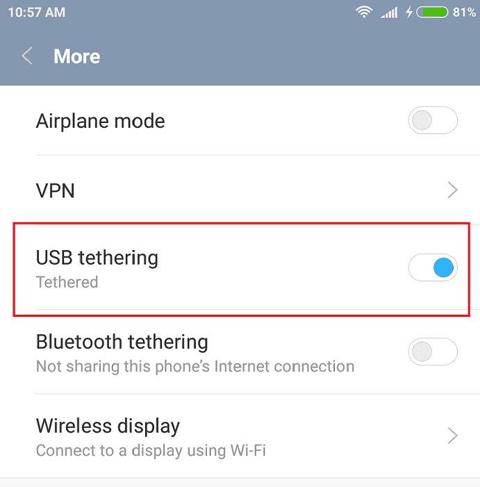 How to share an internet connection from phone (Step 2)
