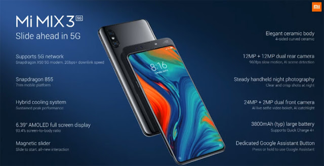 Mi Mix3 5g specs and features