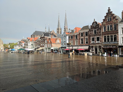 View of Markt in Delft with rainbow.