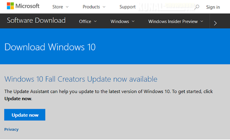 Install Windows 10 Fall Creators Update using Update Assistant