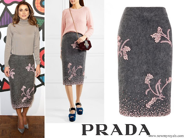 Queen Rania wore PRADA Embellished mohair-blend pencil skirt