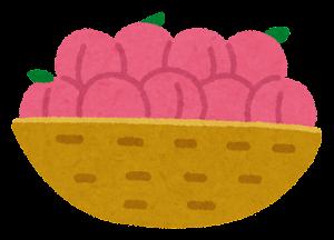 カゴに入った果物のイラスト(桃)