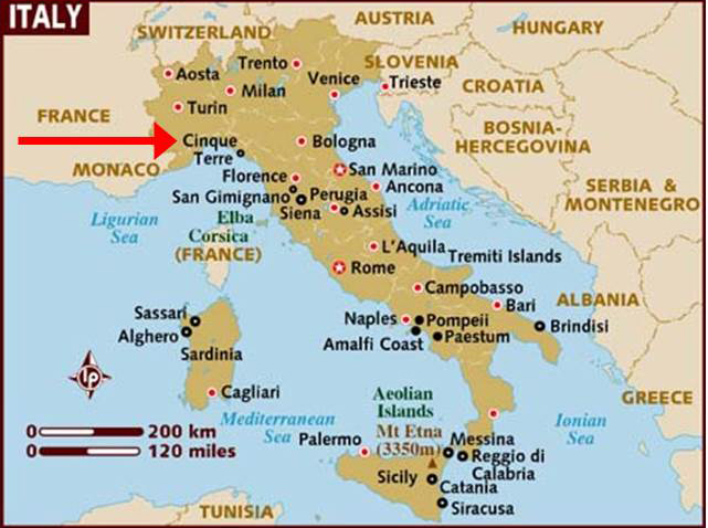 Map Of North West Italy.Chen Martin Travel Network Hiking In Italy Cinque Terre