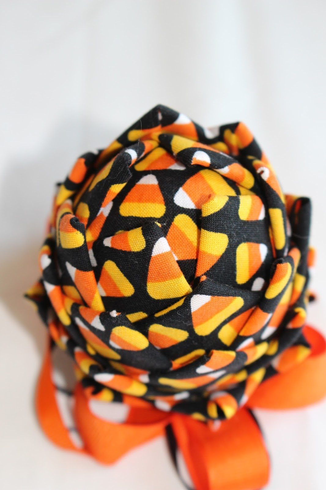 fabric candy corn design ribbon black orange status available ready to ship - Christmas Candy Corn