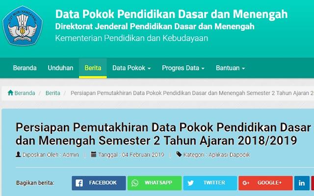 Persiapan Pemuktahiran Data Pokok Pendidikan Dasar dan Menengah (Dapodikdamen) Semester 2 Tahun 2018/2019.