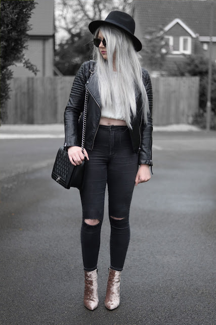 Sammi Jackson - Black Primark Fedora, Zaful Sunglasses, Topshop Biker Jacket, VIPme Off Shoulder Chiffon Ruffle Top, Topshop Ripped Knee Joni Jeans, Oasap Faux Leather Quilted Bag, Dresslink Pink Crushed Velvet Boots