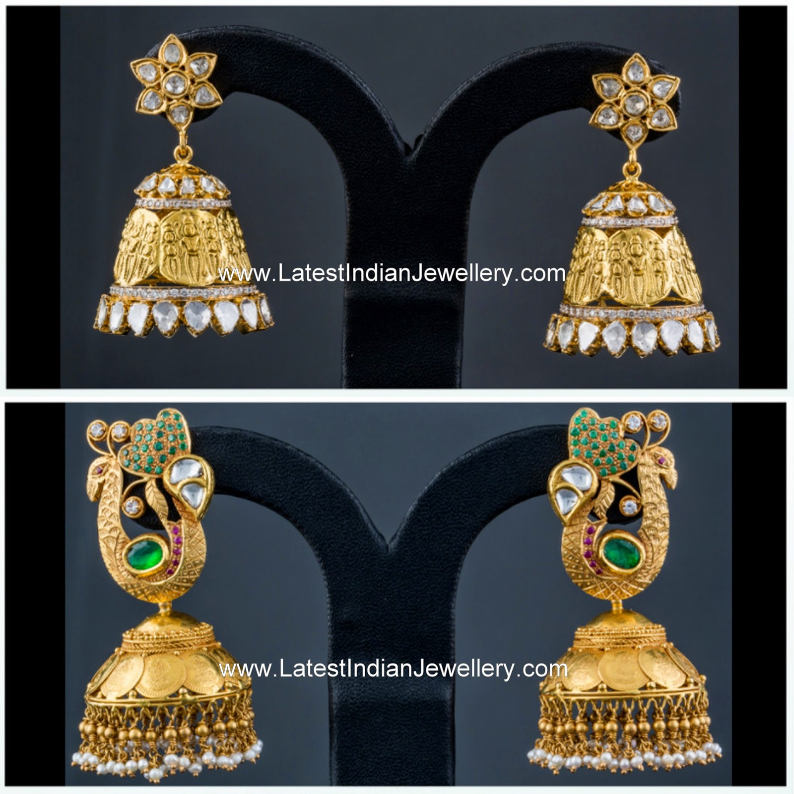 latest kasu design gold jhumkas