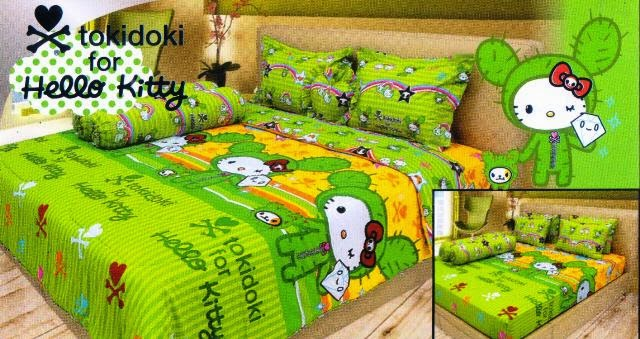 sprei internal motif kartun tokidoki for hello kitty
