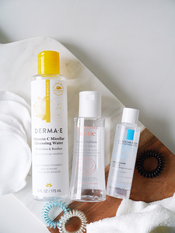 Derma E Vitamin C Micellar Cleansing Water featuring Probiotics and Rooibos, Avene Micellar Lotion, La Roche Posay Eau Micellaire Ultra
