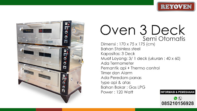 Oven Gas Stainless 3 Deck Semi Otomatis