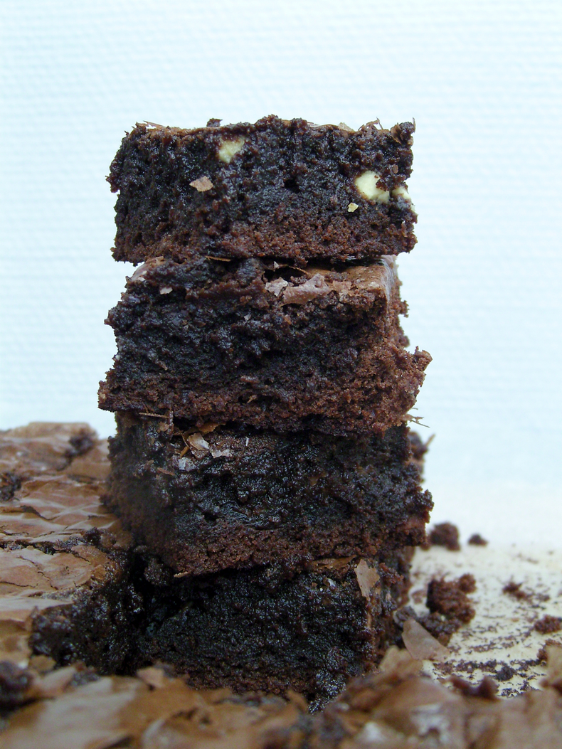 Milk, white and dark chocolate brownies