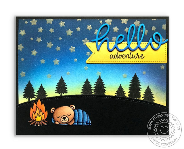 Sunny Studio: Critter Campout Hello Adventure Card (featuring Glow-in-the-dark background using Cascading Stars Stamps)