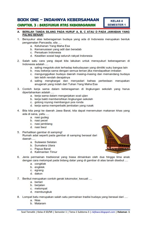 Download Soal Dan Kunci Tanggapan Kelas 4 Semester 1 Tema 1 Subtema 3 Indahnya Kebersamaan Bersyukur Atas Keberagaman Edisi Revisi Terbaru