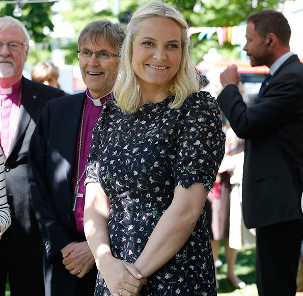 Crown Princess Mette-Marit of Norway attended a service celebrating the Norwegian Bible Society's 200th anniversary at the Oslo Cathedral in Norway, Princess Mette Marit wore Valentino dress. style, jewelery