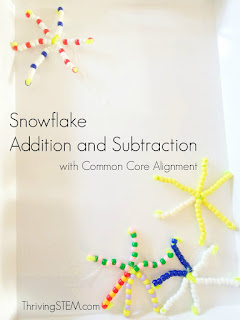 Beaded Snowflake Addition and subtraction practice