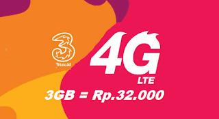 cara daftar paket internet Tri 3G Rp.32.000