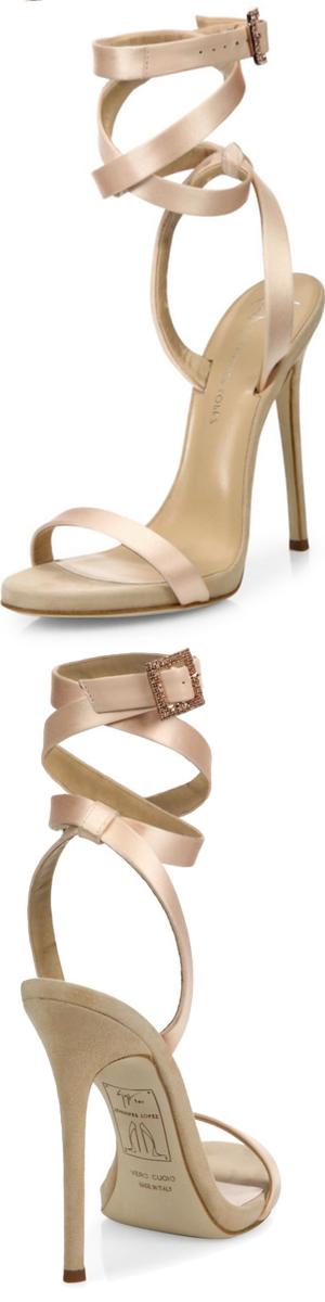 Giuseppe Zanotti Giuseppe for Jennifer Lopez 120 Satin Ankle-Wrap Sandals