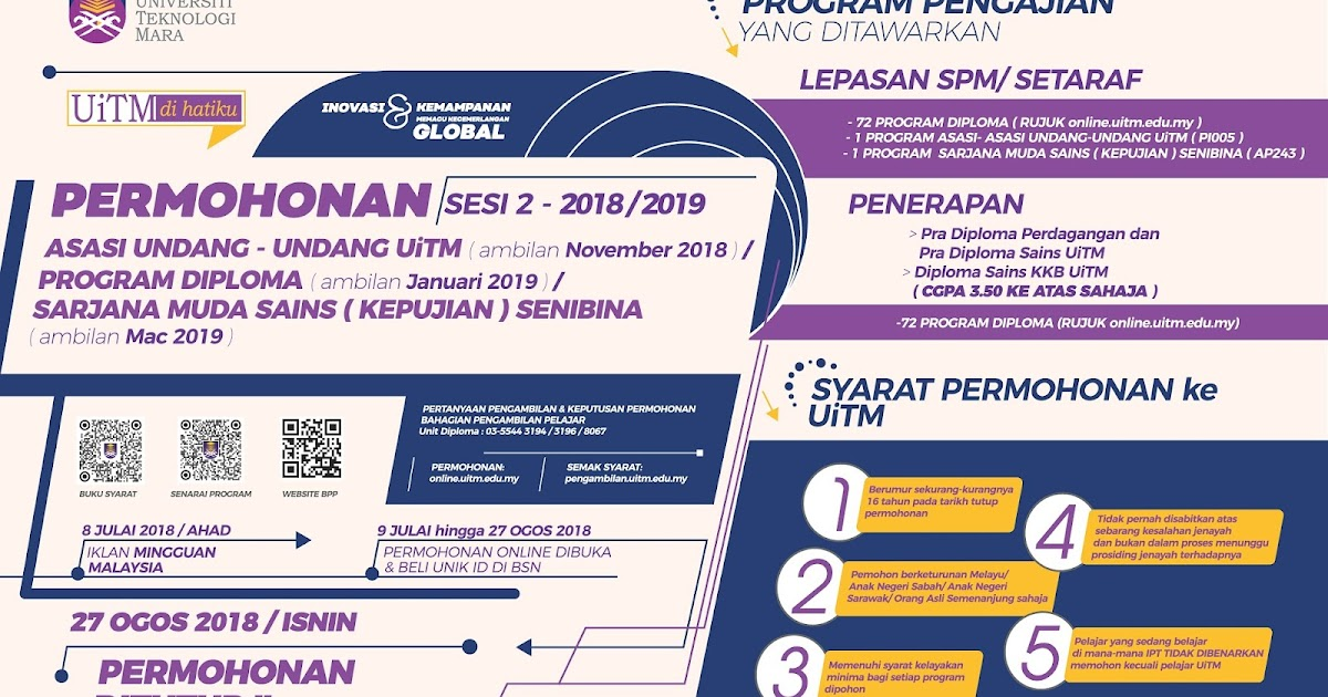 The Edvisor Malaysia Permohonan Uitm Kemasukan Sesi Akademik 2 2018 2019 Lepasan Spm Setaraf