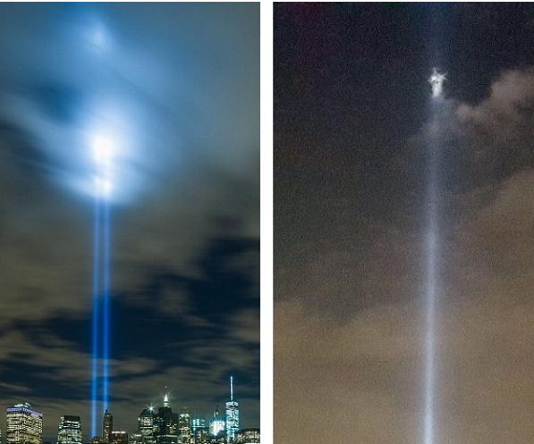 Perbandingan sinar cahaya lampu di lokasi sekitar Tribute, dengan pilar cahaya hasil bidikan Rich McCormack.