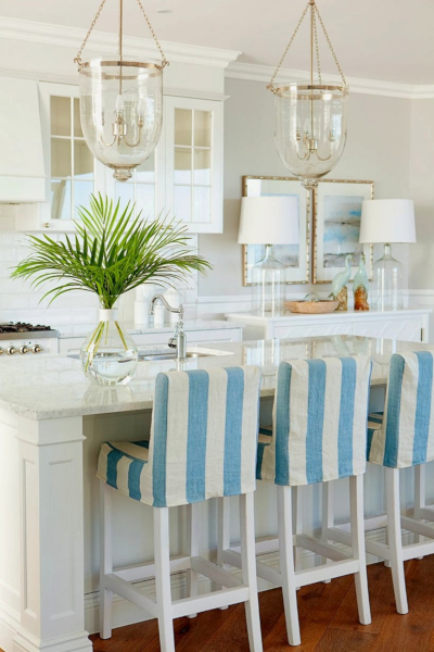 Palm Fronds in Vase on Kitchen Countertop Green Coastal Decor Idea Tropical Leaf Decor