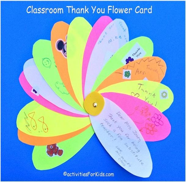 Öğretmene El yapımı Çiçek Teşekkür Kartı