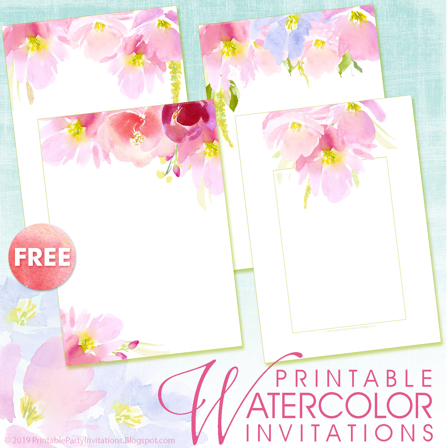 four free watercolor invitation templates