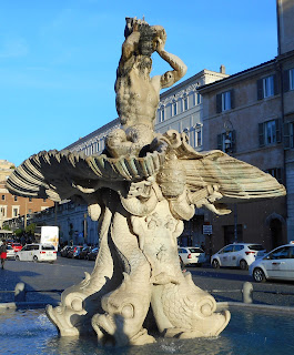 The Fontana del Tritone - the Triton fountain - in Rome's Piazza Barberini