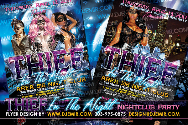 Thief In The Night Themed Nightclub Party Flyer Design New York City