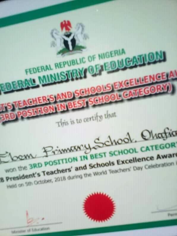 Abia Primary School Adjudged 3rd best in Nigeria