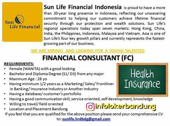 Lowongan Kerja Sun Life Financial Indoneisa Bandung Oktober 2017