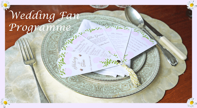 Wedding fan programme by Hilary Milne for Silhouette UK