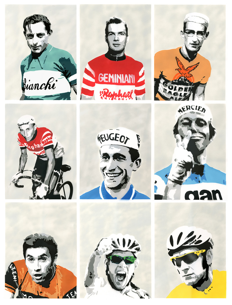 Tour de France cycling art created by artist James Straffon