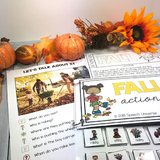 This Fall Language PreK Thematic Packet has everything you need to help your pre-K students with their most common goal areas.  Nouns, verbs, prepositions, wh questions, categorization, and more!