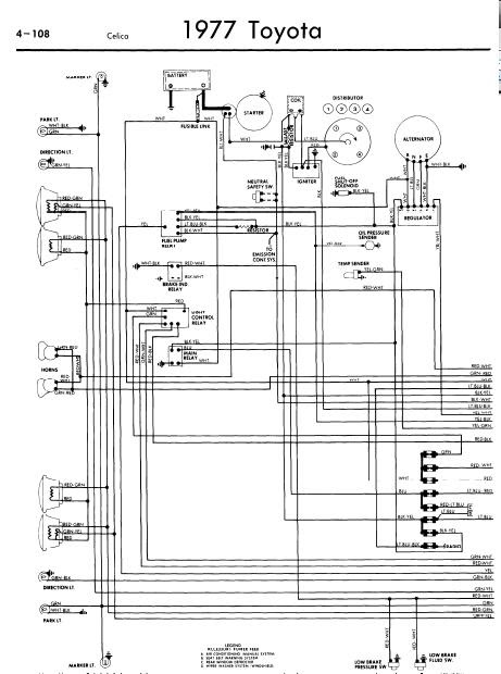 repairmanuals: Toyota Celica A20 1977 Wiring Diagrams