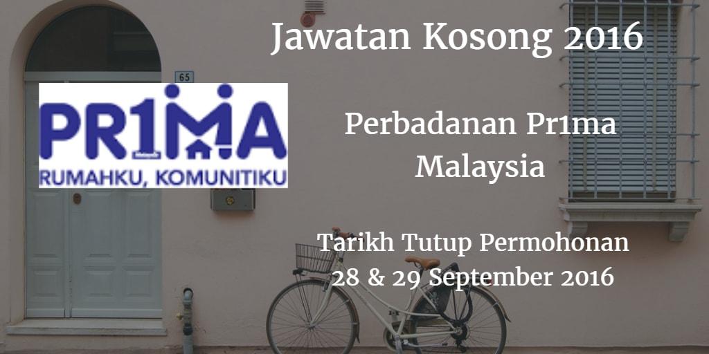 Jawatan Kosong PR1MA 28 & 29 September 2016