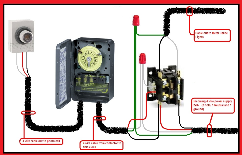 photocell and timer switch wiring diagram single pole