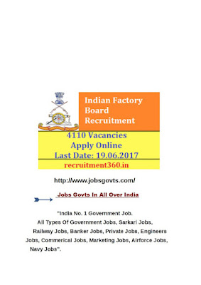 Ministry of Defence,Ordnance Factory Board Recruitment 2017
