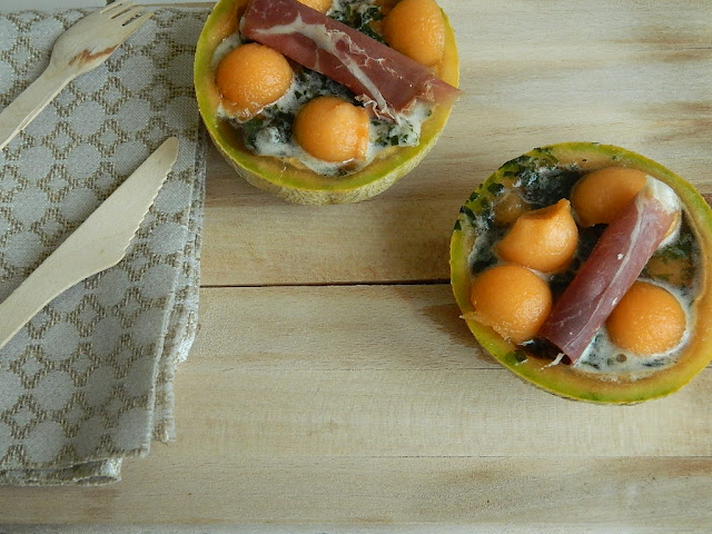 Melon, son granité de basilic et sa touche de jambon.