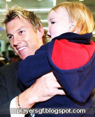 Brett Lee with hi son