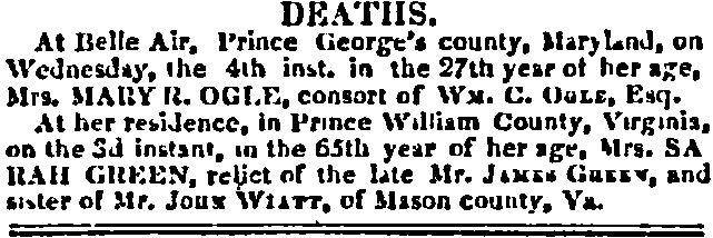 Prince William County Genealogy: Sunday's Obituary: Sarah Green