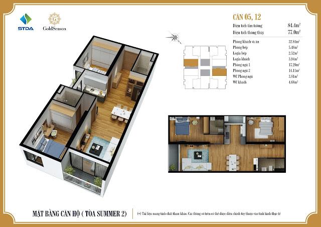 Mặt bằng căn hộ 05, 12 chung cư GoldSeason Tòa Summer 2