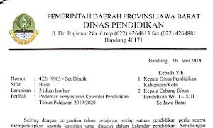 Kalender Pendidikan Provinsi Jawa Barat Tahun Pelajaran 2019/2020