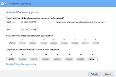 Windows 8 confirmation id
