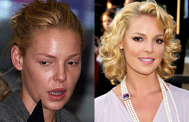 Katherine Heigl with n without makeup