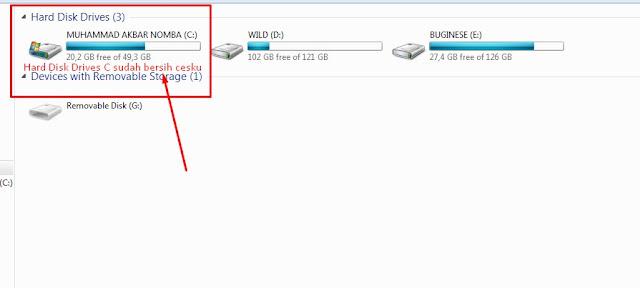 Mengatasi Hard Disk Drives C Merah atau Penyimpanan Penuh Pada Komputer