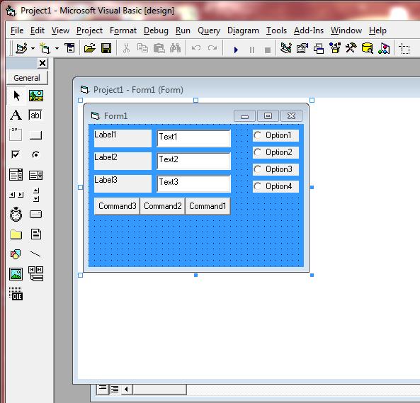 Tutorial VB: Option Button Program code vb 6 0 (Visual Basic