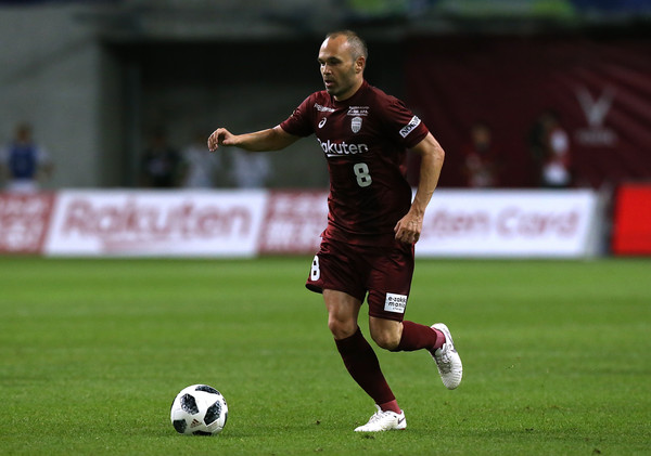 Andres Iniesta of Vissel Kobe in action during the J.League J1 match between Vissel Kobe and Shonan Bellmare at Noevir Stadium Kobe on July 22, 2018 in Kobe, Hyogo, Japan.