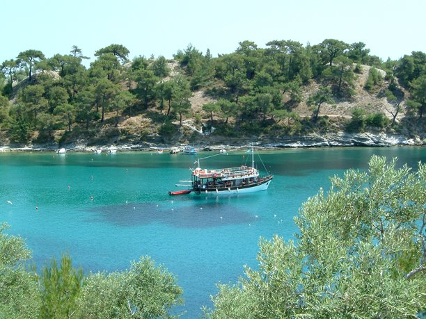 Aliki beach on the island of Thassos