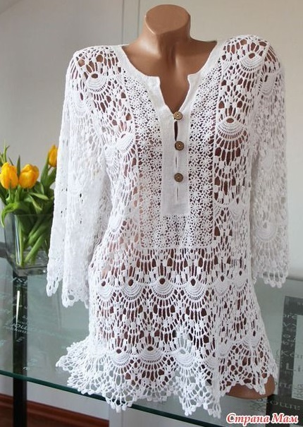 Follows this beautiful blouse made in standard crochet - step by step free